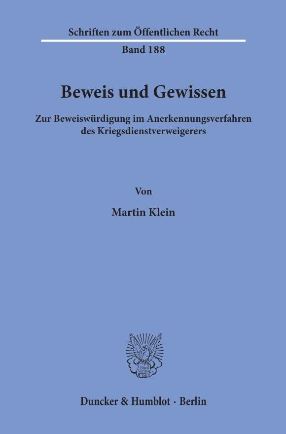 Cover Beweis und Gewissen