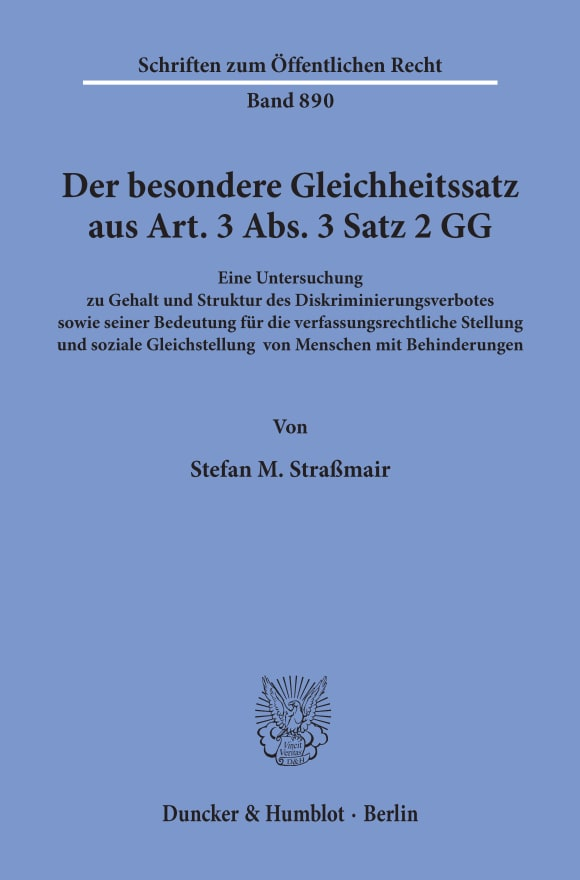 Cover Der besondere Gleichheitssatz aus Art. 3 Abs. 3 Satz 2 GG