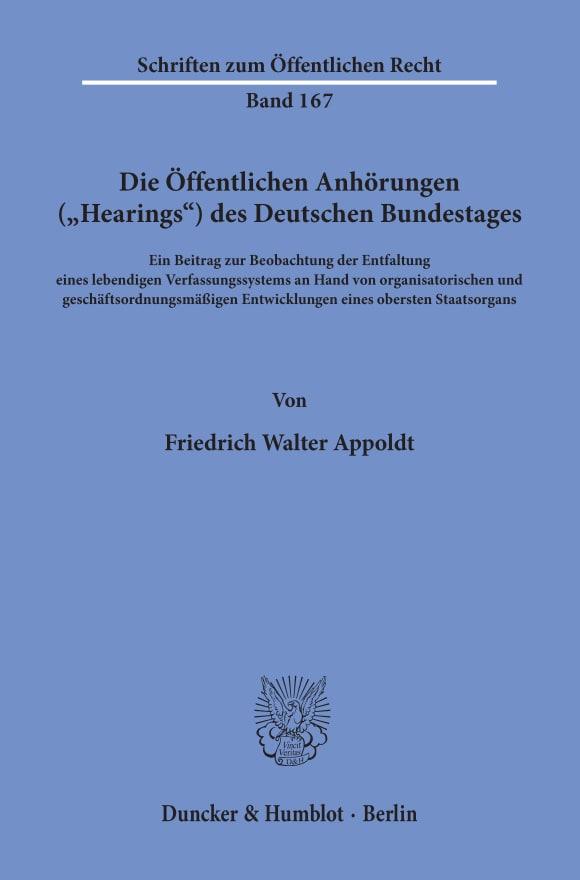 """Cover Die Öffentlichen Anhörungen (""""Hearings"""") des Deutschen Bundestages"""
