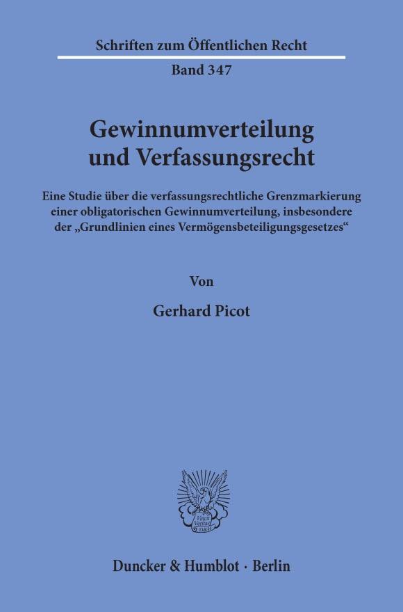 Cover Gewinnumverteilung und Verfassungsrecht