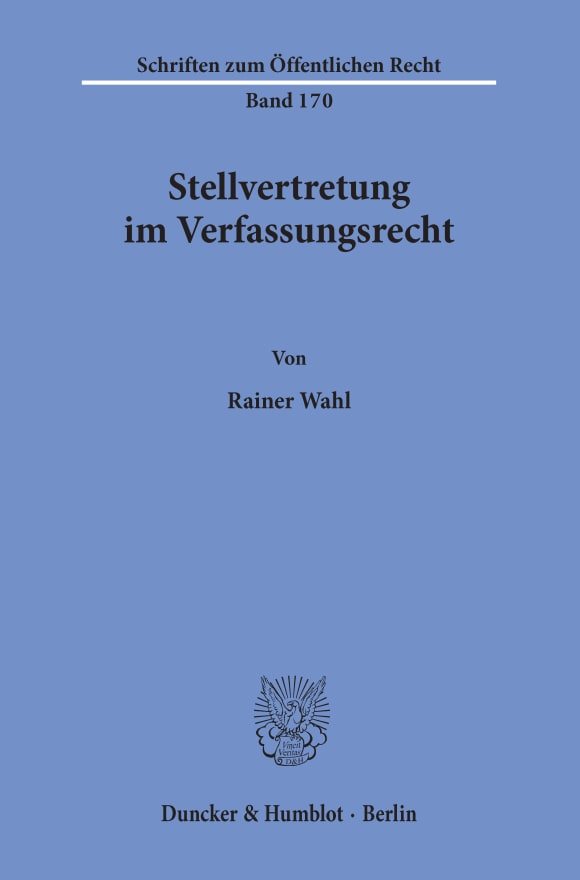 Cover Stellvertretung im Verfassungsrecht