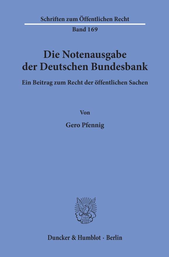 Cover Die Notenausgabe der Deutschen Bundesbank