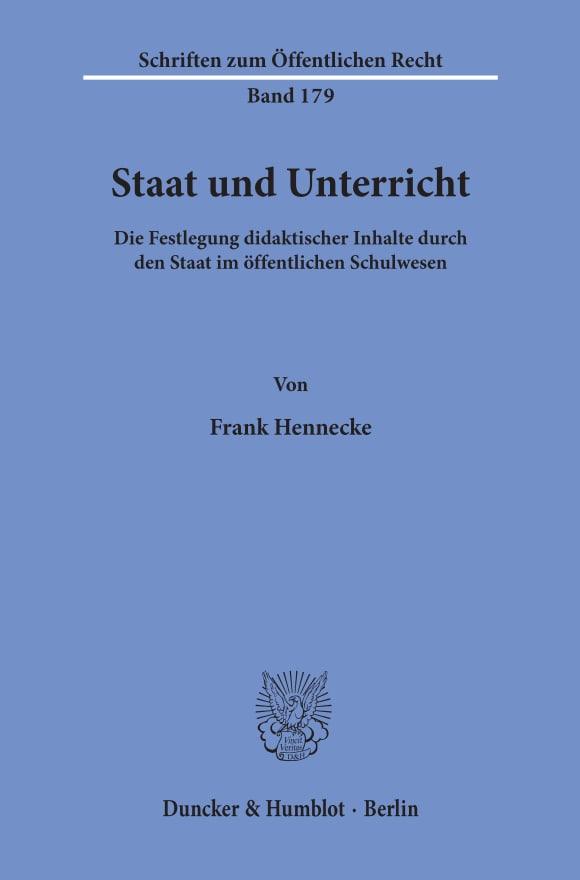 Cover Staat und Unterricht