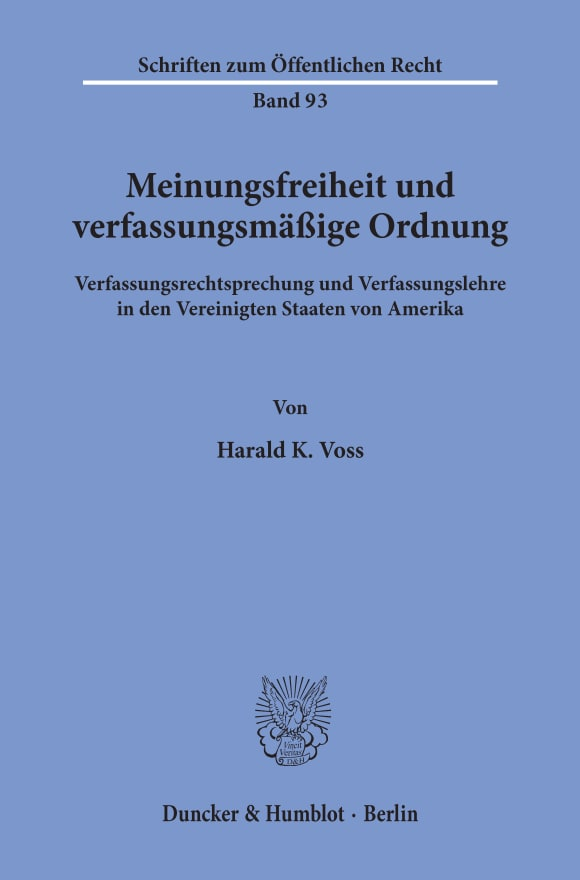 Cover Meinungsfreiheit und verfassungsmäßige Ordnung