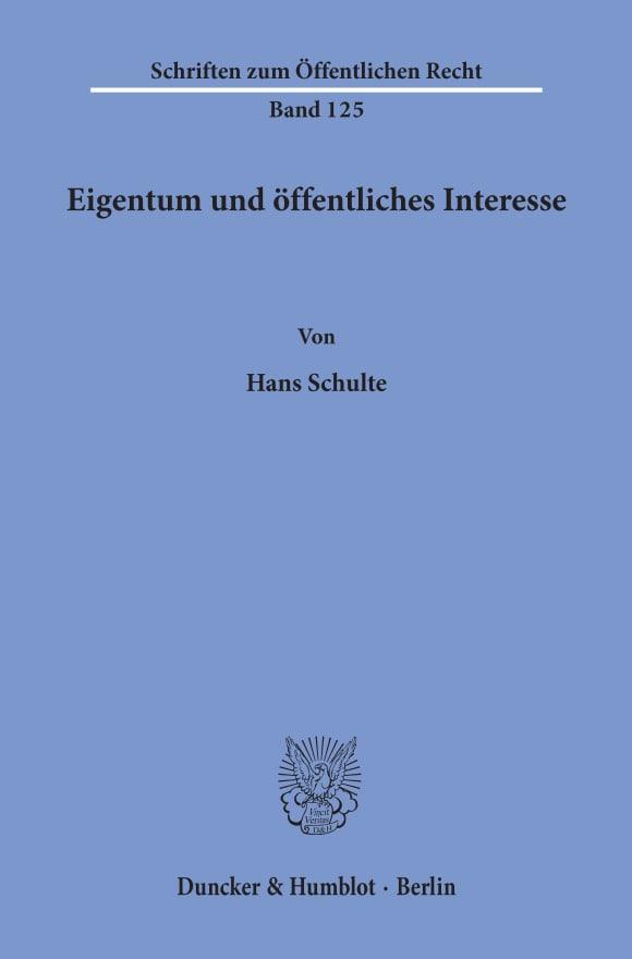 Cover Eigentum und öffentliches Interesse