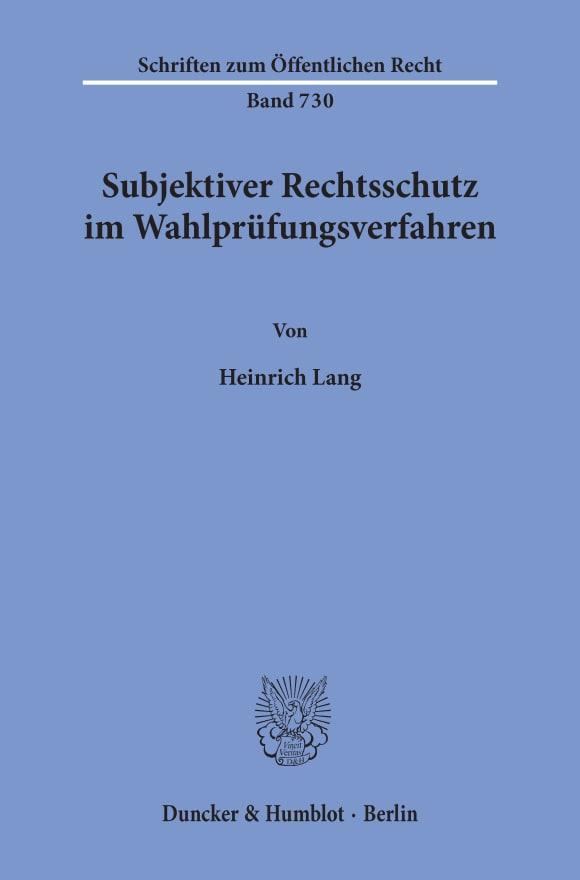 Cover Subjektiver Rechtsschutz im Wahlprüfungsverfahren
