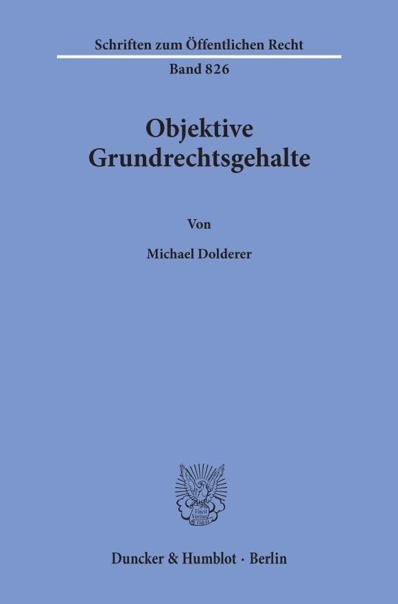 Cover Objektive Grundrechtsgehalte