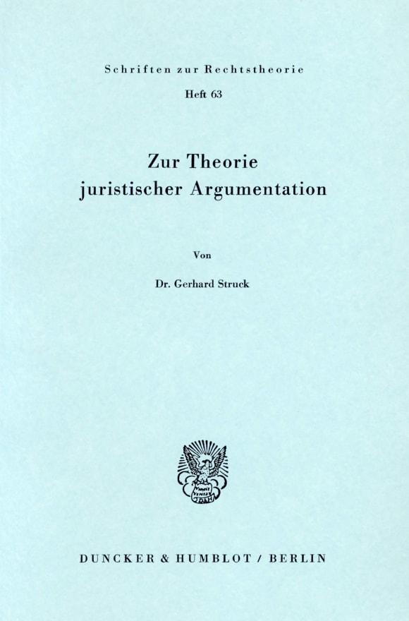 Cover Zur Theorie juristischer Argumentation