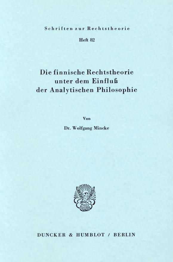 Cover Die finnische Rechtstheorie unter dem Einfluß der Analytischen Philosophie