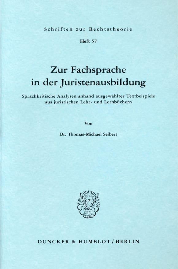 Cover Zur Fachsprache in der Juristenausbildung