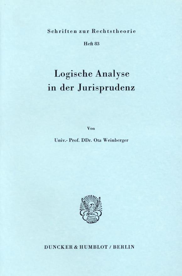 Cover Logische Analyse in der Jurisprudenz