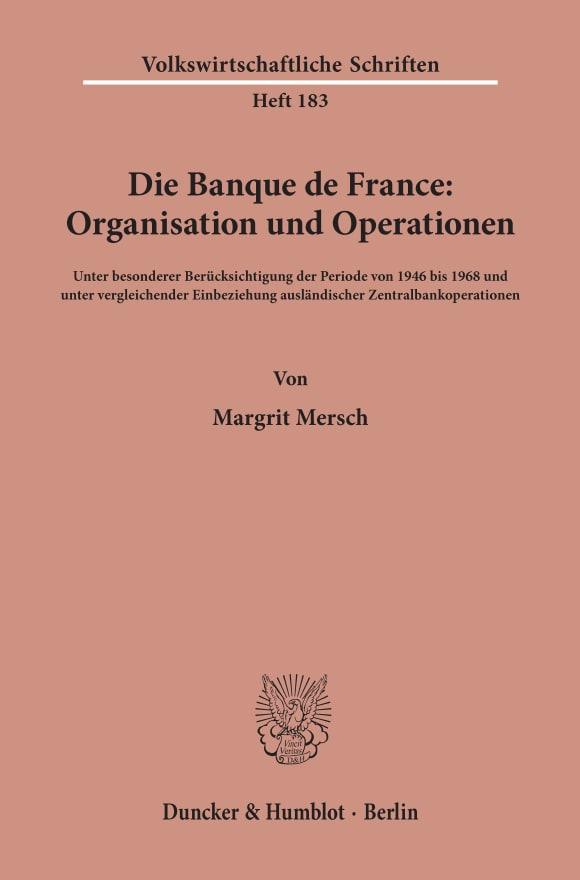 Cover Die Banque de France: Organisation und Operationen