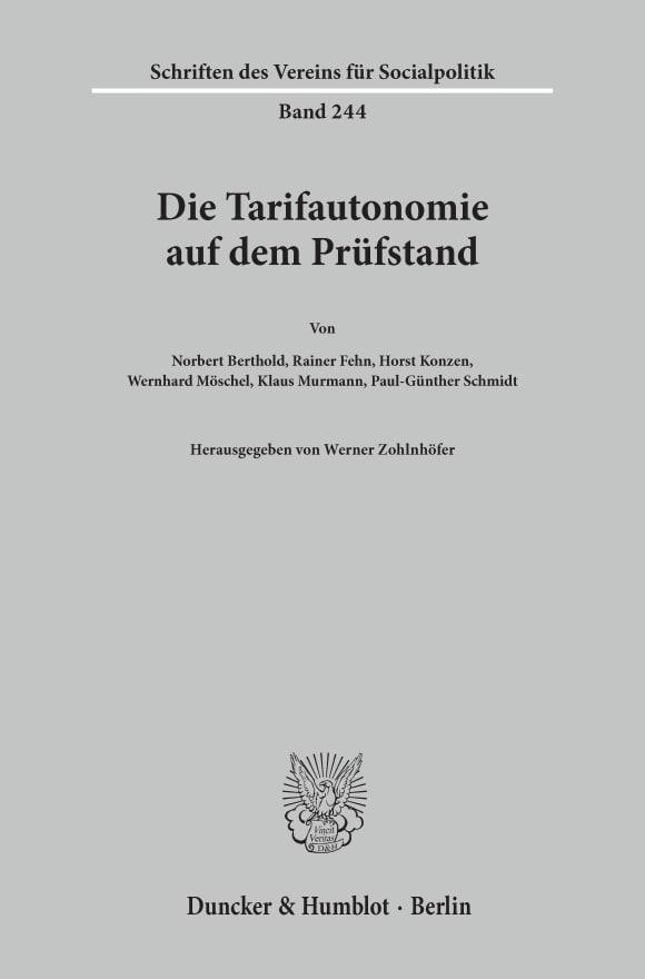 Cover Die Tarifautonomie auf dem Prüfstand