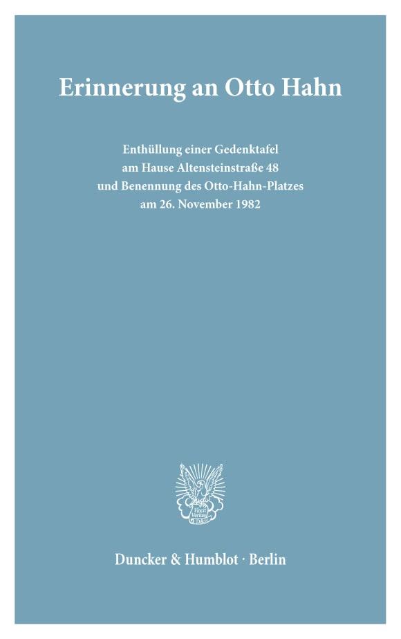Cover Erinnerung an Otto Hahn
