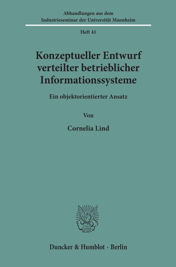 Cover Konzeptueller Entwurf verteilter betrieblicher Informationssysteme