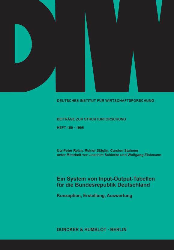 Cover Ein System von Input-Output-Tabellen für die Bundesrepublik Deutschland