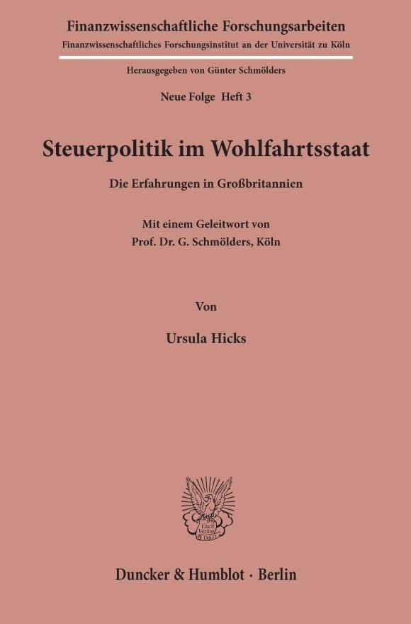 Cover Steuerpolitik im Wohlfahrtsstaat