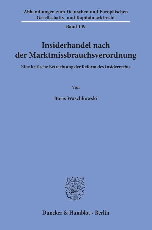 Cover Insiderhandel nach der Marktmissbrauchsverordnung