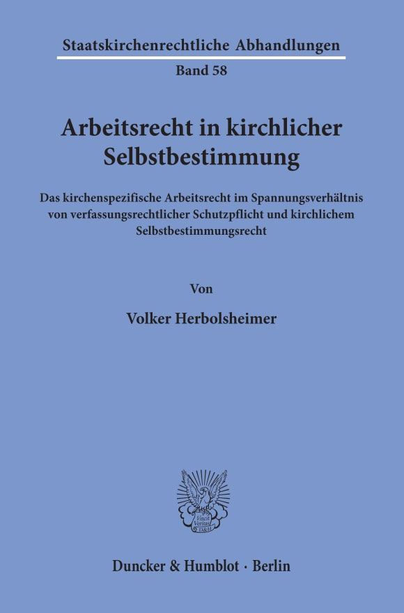 Cover Arbeitsrecht in kirchlicher Selbstbestimmung