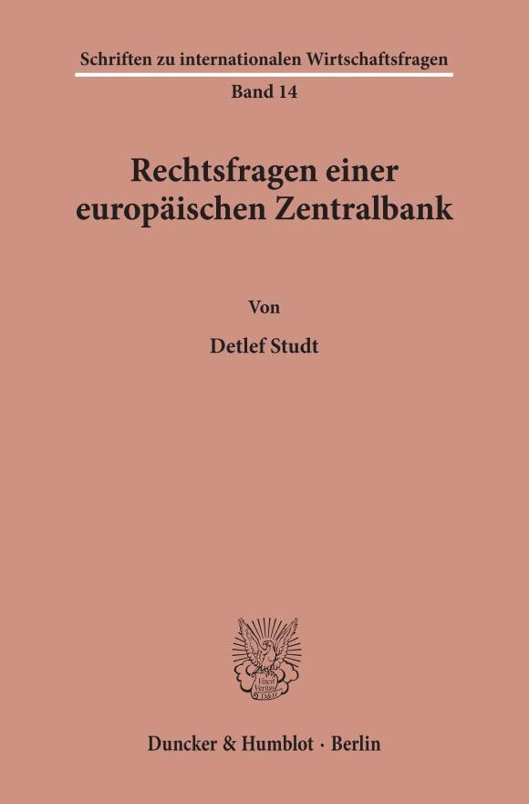 Cover Rechtsfragen einer europäischen Zentralbank