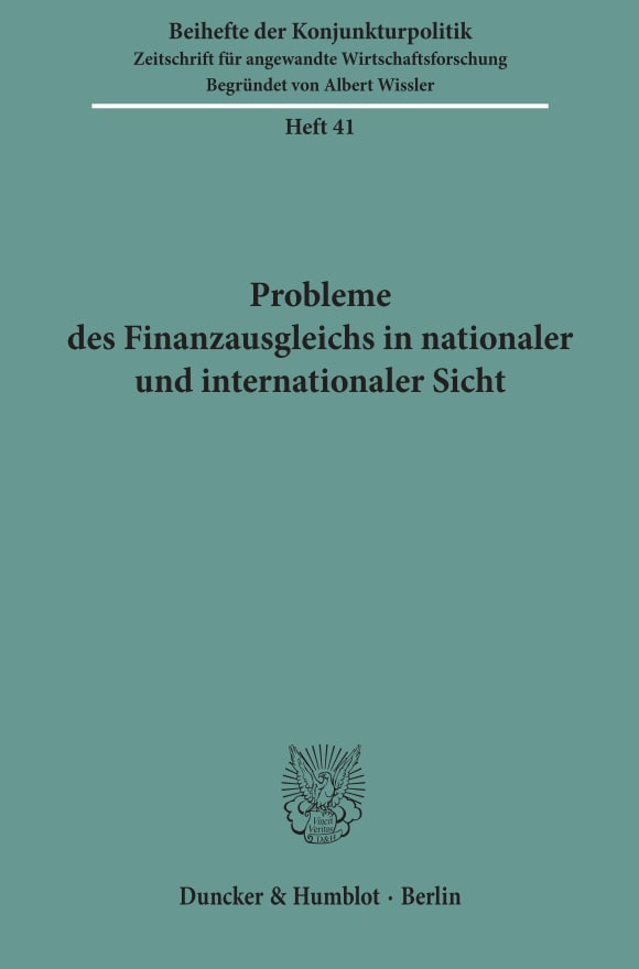 Cover Probleme des Finanzausgleichs in nationaler und internationaler Sicht
