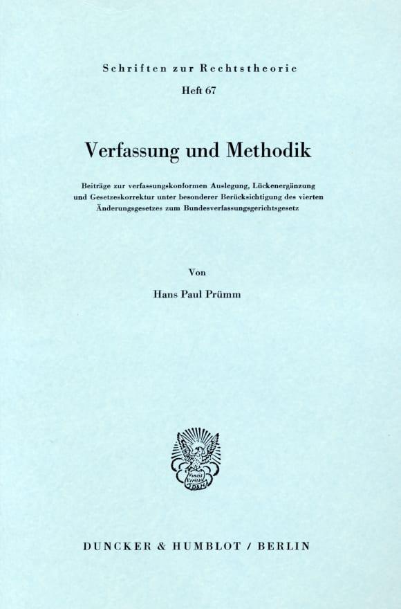 Cover Verfassung und Methodik