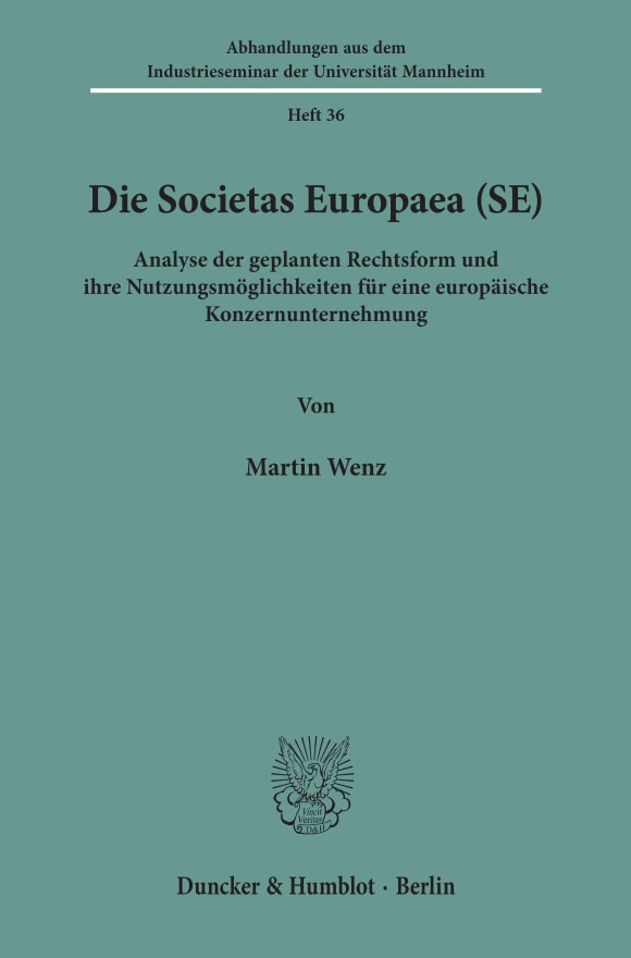 Cover Die Societas Europaea (SE)
