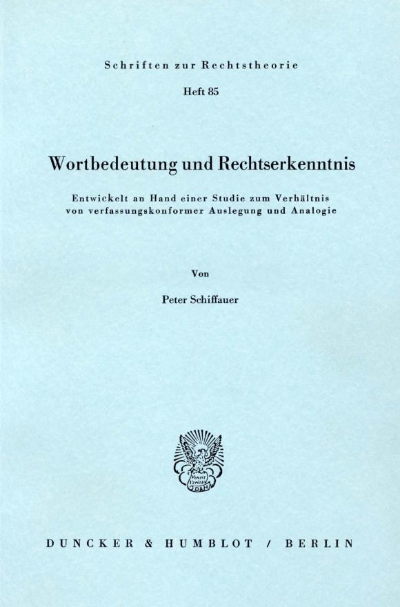 Cover Wortbedeutung und Rechtserkenntnis