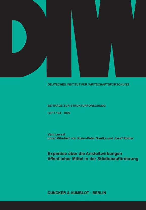 Cover Expertise über die Anstoßwirkungen öffentlicher Mittel in der Städtebauförderung