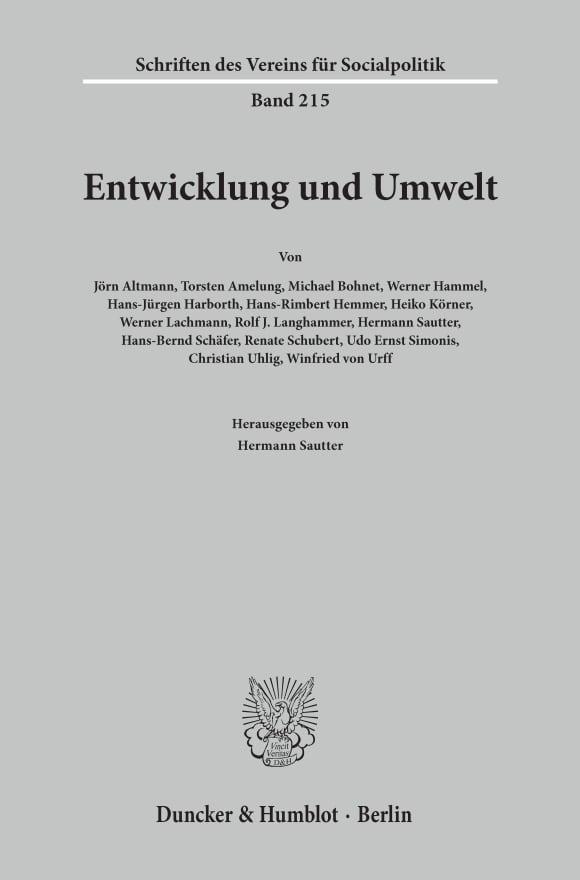 Cover Entwicklung und Umwelt