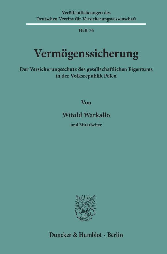 Cover Veröffentlichungen des Deutschen Vereins für Versicherungswissenschaft (DVV)