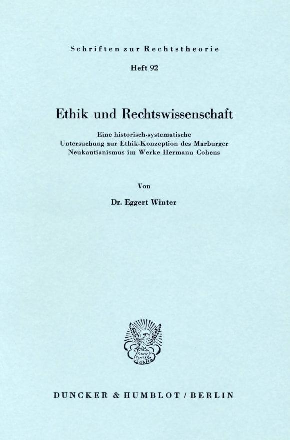 Cover Ethik und Rechtswissenschaft