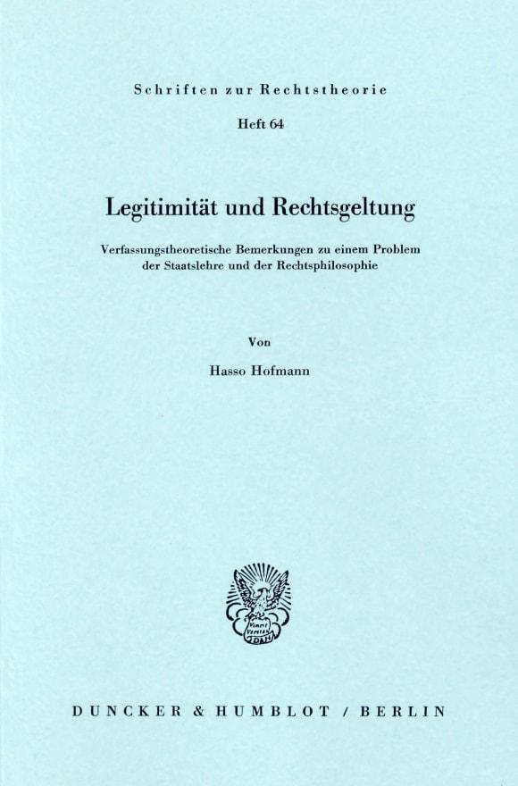 Cover Legitimität und Rechtsgeltung