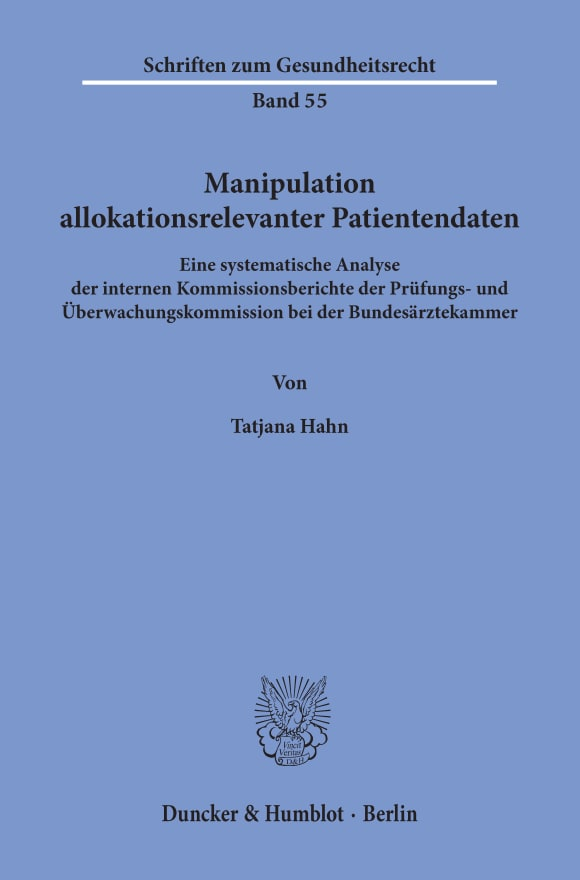 Cover Manipulation allokationsrelevanter Patientendaten