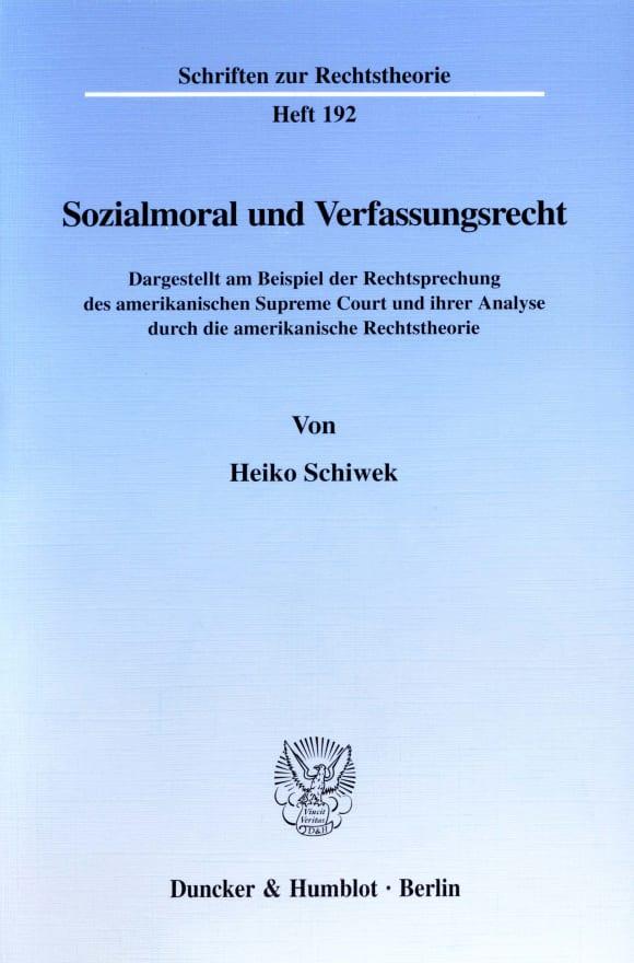 Cover Sozialmoral und Verfassungsrecht
