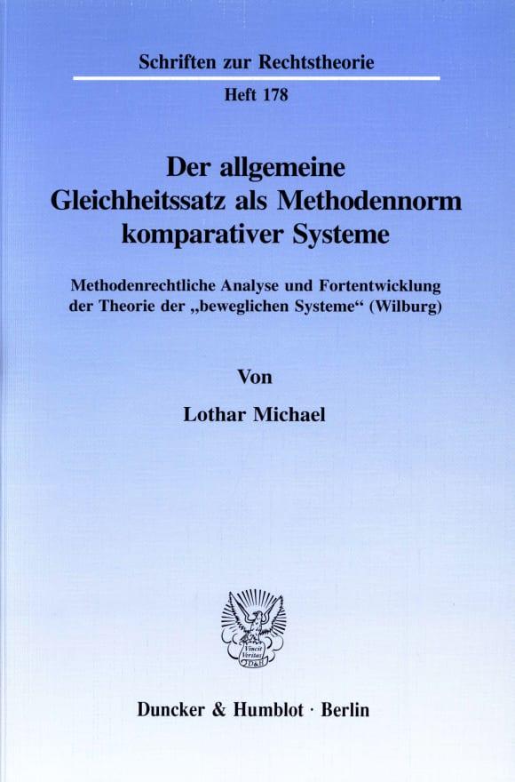 Cover Der allgemeine Gleichheitssatz als Methodennorm komparativer Systeme