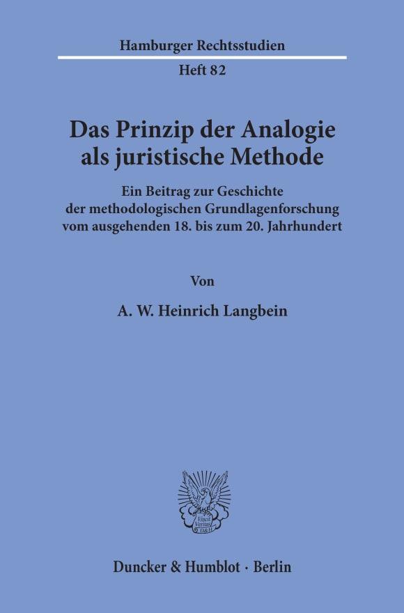 Cover Das Prinzip der Analogie als juristische Methode