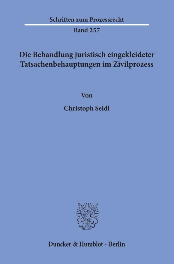 Cover Schriften zum Prozessrecht (PR)