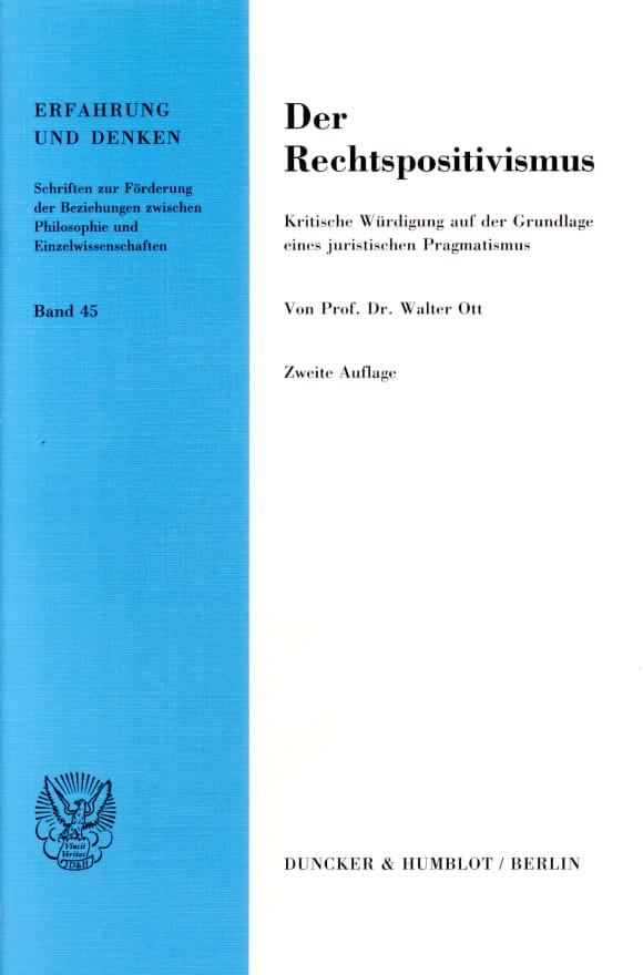 Cover Der Rechtspositivismus