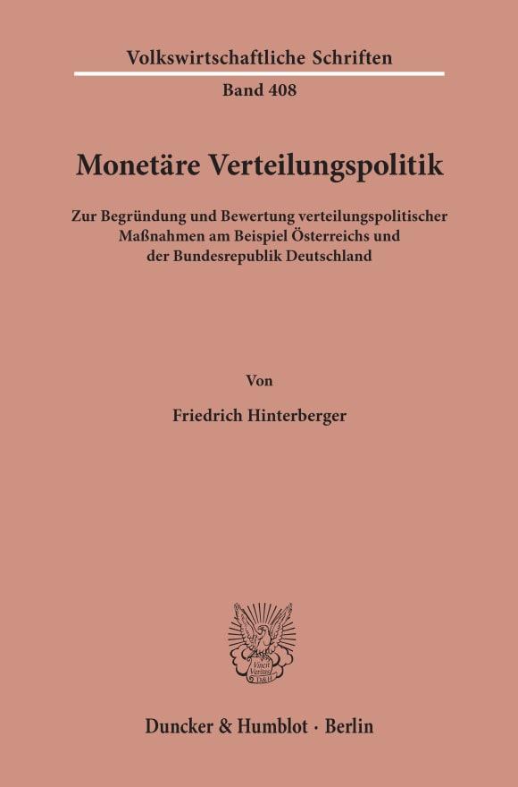 Cover Monetäre Verteilungspolitik