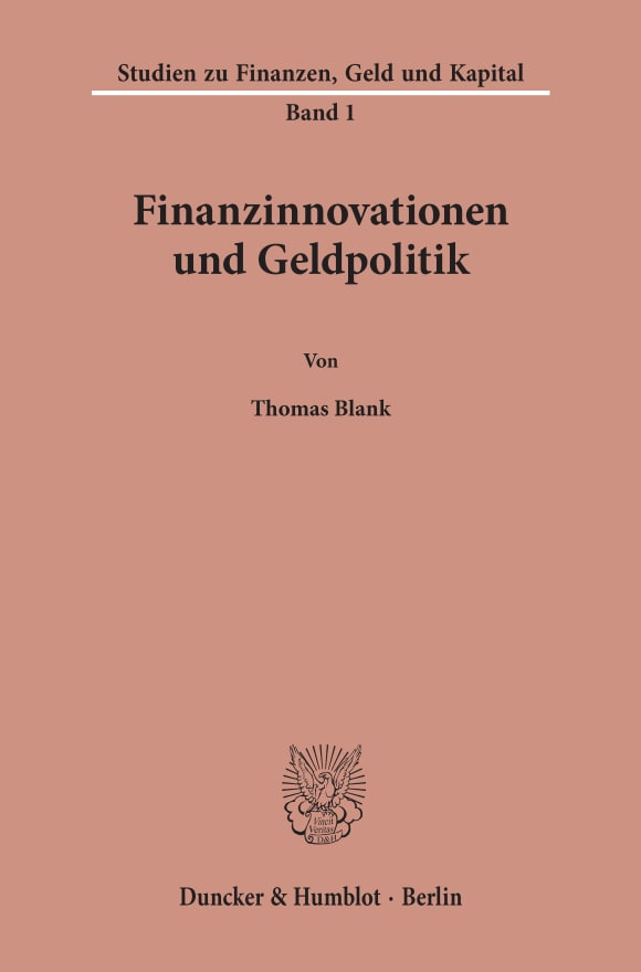 Cover Finanzinnovationen und Geldpolitik