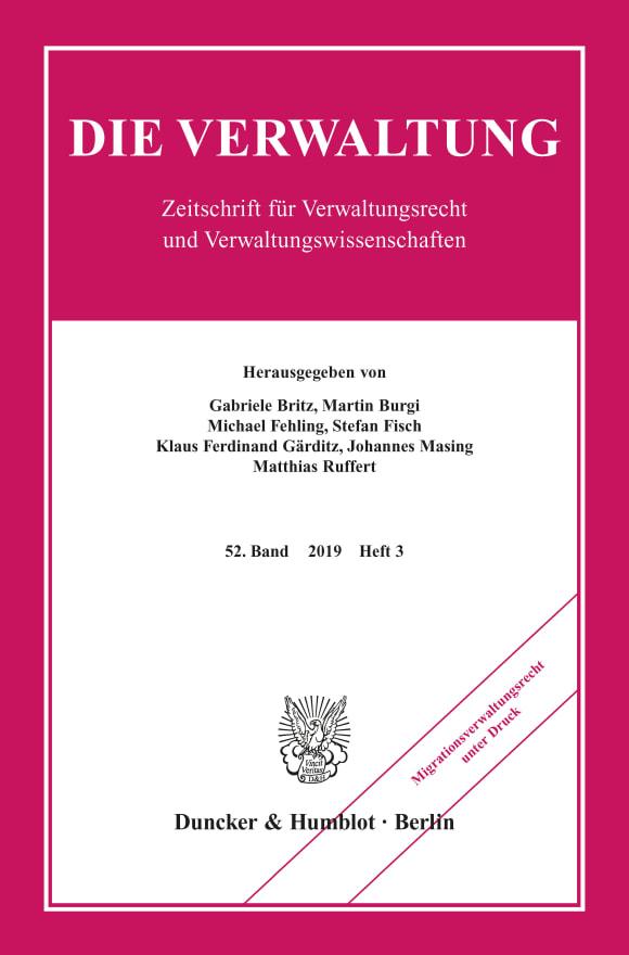 Cover Migrationsverwaltungsrecht unter Druck (VERW 3/2019)
