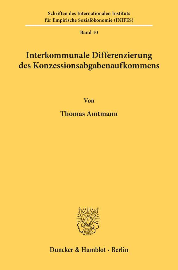Cover Schriften des Internationalen Instituts für Empirische Sozialökonomie (INIFES)