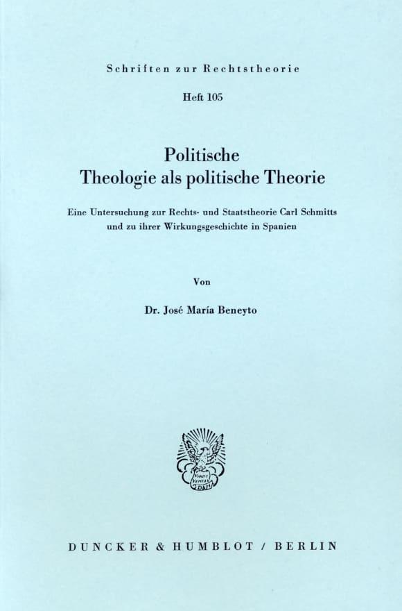 Cover Politische Theologie als politische Theorie