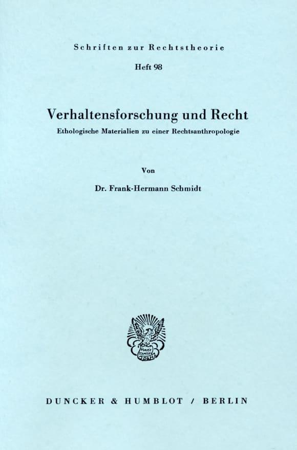 Cover Verhaltensforschung und Recht
