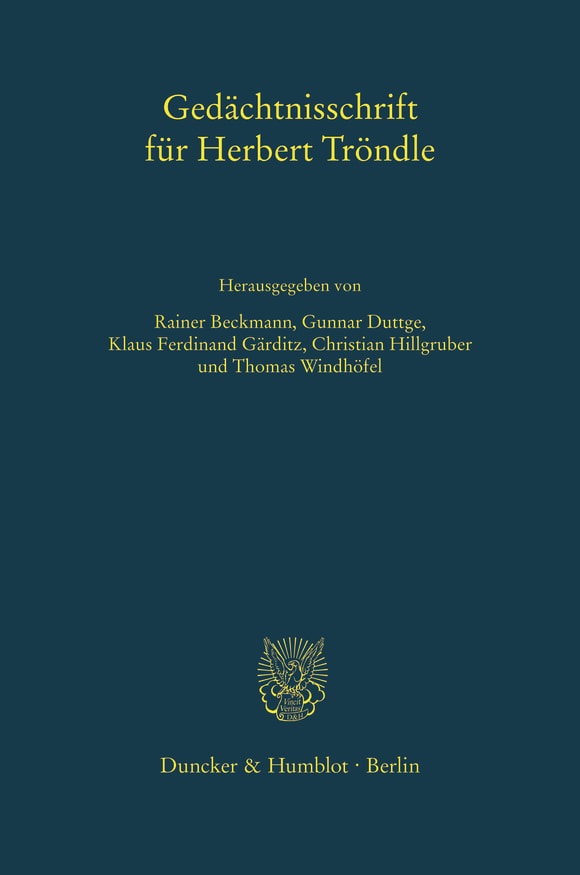 Cover Gedächtnisschrift für Herbert Tröndle