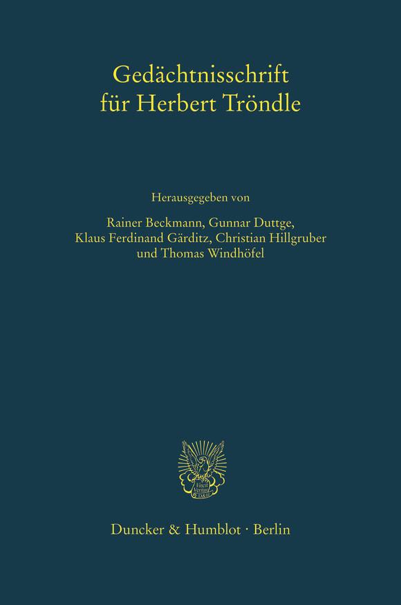 Cover Gedächtnisschrift für Herbert Tröndle