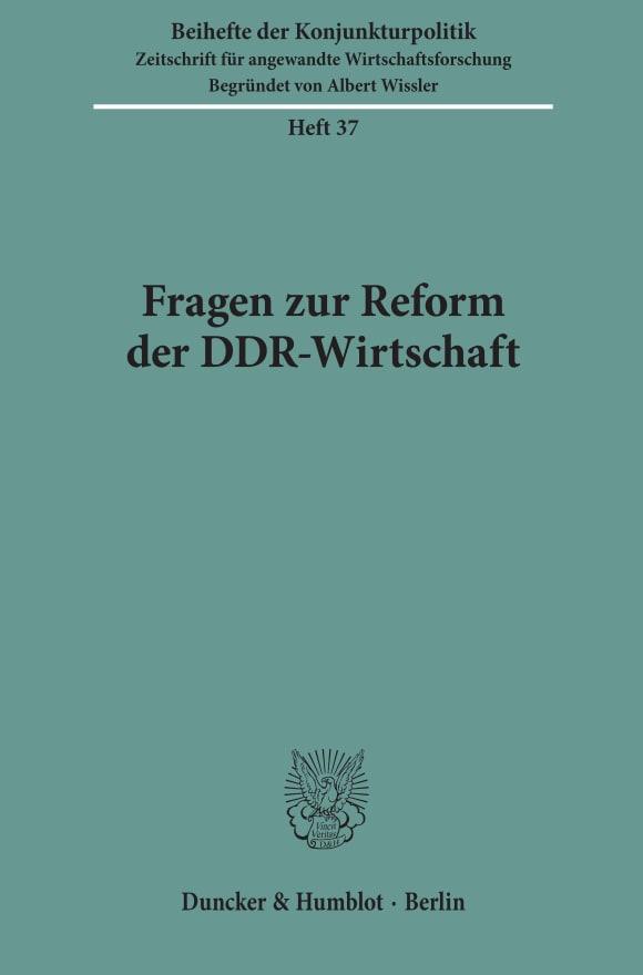 Cover Fragen zur Reform der DDR-Wirtschaft