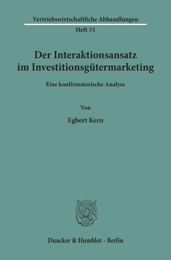 Cover Der Interaktionsansatz im Investitionsgütermarketing