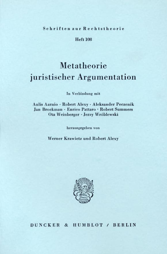 Cover Metatheorie juristischer Argumentation